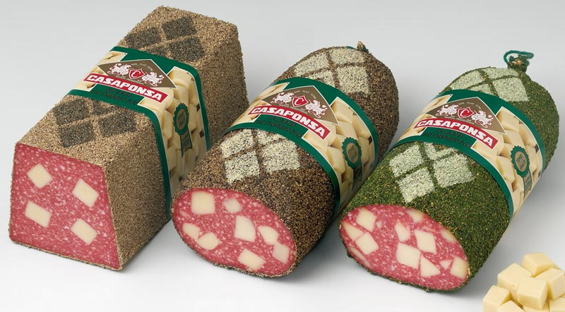 Tunnel-shaped salami with cheese