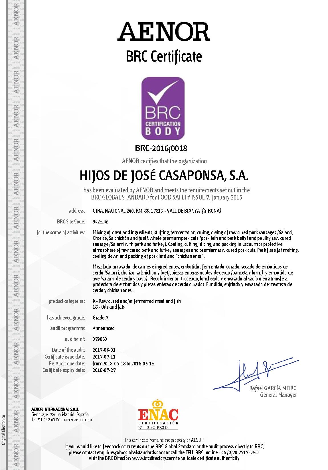 Certificado BRC Casaponsa
