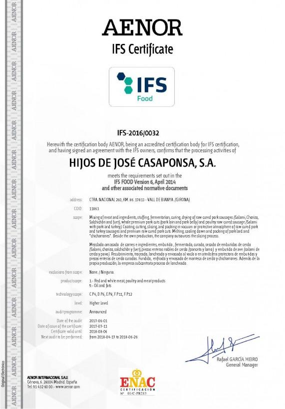 Certificat IFS Casaponsa