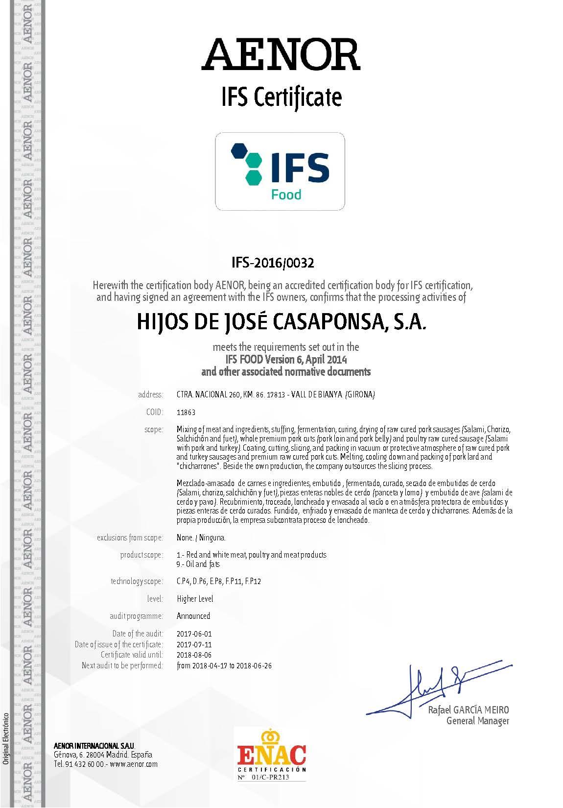 Certificado IFS Casaponsa