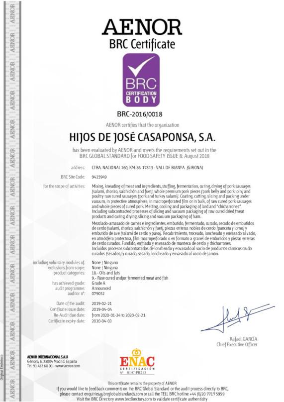 BRC-2016-0018 HIJOS DE JOSE CASAPONSA