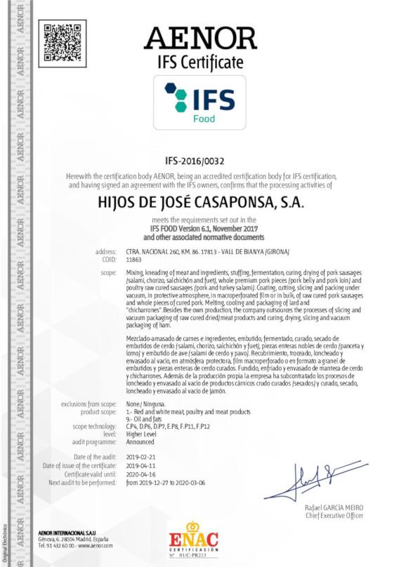 IFS-20160032 HIJOS DE JOSÉ CASAPONSA